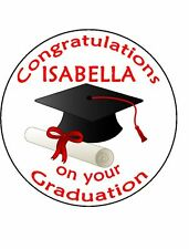 "Congratulations on your Graduation 7.5"" Round Rice Paper Large Cake Topper D1"