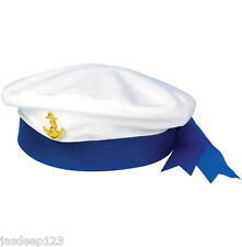 SAILOR CAPITANO BLUE HAT Fancy Dress Navy Marina Unisex CAP COSTUME MARE ANCHOR