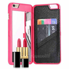 Flip Mirror Hard Cases With Wallet Card Holder Stand Cover For iPhone 6 Plus 5.5