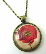 High Quality Red Poppies Design Bronze Pendant Glass Necklace New in Gift Bag