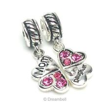 Sterling Silver Daughter Mother Love Heart Pink Cz Clover European Bead Charm