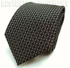GUCCI men's Neck Tie Black SILK twill Gray INTERLOCKING G ivory Dots NWT Authent