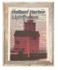 Holland Harbor Lighthouse Michigan Altered Art Print Upcycled Vintage Dictionary