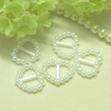 50  x Pearl Ribbon Buckles/Sliders Heart Shaped - White/ Wedding/Cardmaking