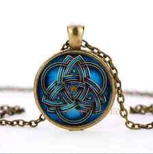 Blue celtic triquetra Glass Bronze Pendant Necklace for men woman jewelry