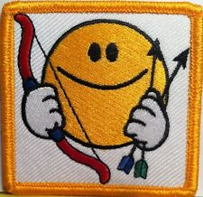 Happy Face With Bow and Arrow Embroidered Iron-On Patch  Biker Emblem