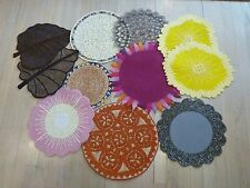 Lot 11 Round Glass Bead Straw Metal Placemats Chargers Trivet 1 Kim Seybert
