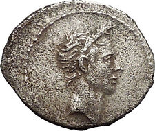 40BC Deified JULIUS CAESAR Portrait Rare TYPE Ancient Silver Roman Coin i53393