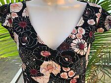 BCBG Max Azria Black Pink Cream Flutter Sleeve Empire Waist Dress XS Mod Floral