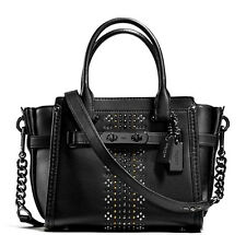 $450 COACH 55524 Black Bandana Rivets Leather Swagger 21 Satchel NWT