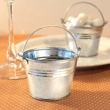 100 Mini Silver Pail Bucket Galvanized Mint Tin Wedding Favor DIY Beach Bulk Lot
