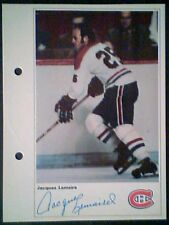 JACQUES LEMAIRE  MONTREAL CANADIENS  71/72 TORONTO SUN 5-1/4 X 7 PHOTO CARD