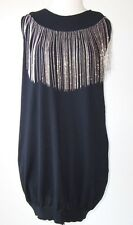 BALMAIN Wool Silver Chain Fringe Mini Tunic Dress 42 10