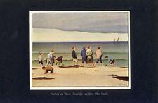 Knaben am Meer Kunstdruck 1930 von Max Unold * Memmingen Jungen spielen Strand +
