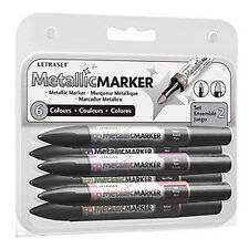 Letraset Metallic Promarkers - Set 2 - 6 x Metallic Colour Promarker Markers