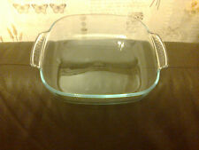 PYREX BAKING DISH PIE DISH ROASTING DISH 2 HANDLES BLUE TINT IN THE GLASS