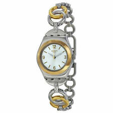 RING BLING! Stylish Irony Lady Swatch w Gold & Silver Fliplock Bracelet-NIB!