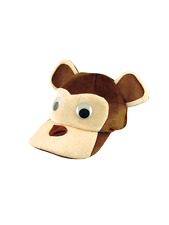 Adult Brown Monkey Animal Fun Festival Zoo Fancy Dress Accessory Hat Cap New