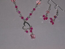 pink pearl beads with crystals, heart and crystal butterfly necklace earring set
