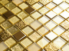 Glass Mosaic Tiles Matte DUBAI GOLD II METAL LOOK glossy 6mm Mosaic Tile