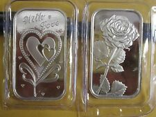 2 x 1 oz  .999 Fine love  Silver rose heart bullion  Bars