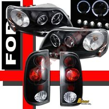 1997-2003 Ford F150 Pickup Black Halo LED Projector Headlights + Tail Lights