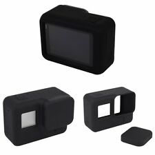 Black Silicone Housing Case Protective + Lens Cap Cover For GoPro HERO 5 Camera