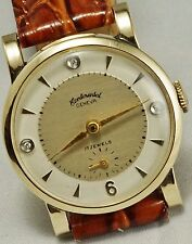 Men's Vintage 14k Continental Geneva 17 Jewel Wrist Watch with Diamonds