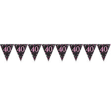40th Birthday Pennant Flag Banner Black & Pink Party Decorations Age 40 Bunting