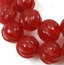 10mm Carnelian Agate Carved Melon Round Beads (10)