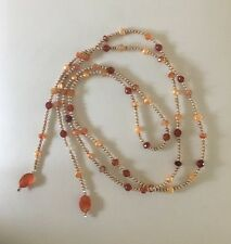 "New long pearl necklace with carnelian gemstones Stone Of Creativity 63"" 160 cm"