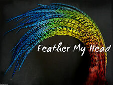 Tie Dye Fade Feather Extensions Real Grizzly Rooster Feathers Rainbow