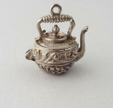 Vintage Silver MOVEABLE TEAPOT OPENS Charm  CHIM Sterling