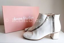 ACNE 'marlie zip boots' white silver zip short ankle studios coated leather 37