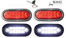 """+++ Bright 2 Red 2 White Oval 6"""" Back up Reverse Fog Stop Turn LED Light Trailer"""