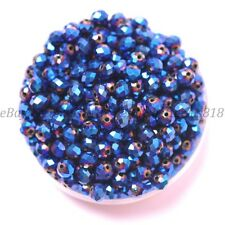 100Pcs Metallic Blue AB2X Czech Crystal Faceted Rondelle Spacer Beads 4MM