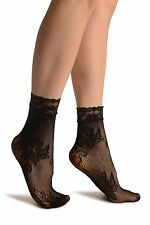 Orchid and Peony Flowers Black Lace Socks Ankle High (SA002973)