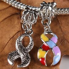 10Pcs Puzzle Ribbon European Charms Pendant Bead ''LIVING WITH' AUTISM Awareness
