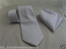 "(03)100% SILK-White with Blue Polka Dots-Necktie & Hanky Set-TIES-3.5""=9cm Width"