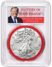 2017 Trump Silver Eagle First Strike Pcgs Ms-69 Red Gasket