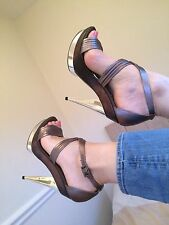 FAITH Silver and Brown Stiletto, all Leather Size 6