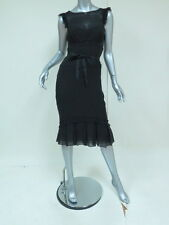Vera Wang Dress Pleated & Pintucked Silk-Chiffon Black Size 2