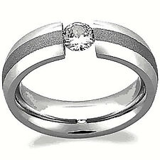 TITANIUM Polished TENSION Solitaire RING with BRUSHED Accent Band, size 12