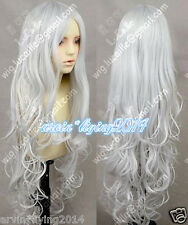 Hot ! 80cm ladies wig long Silver White Wavy Lolita Princess Party Cosplay wigs