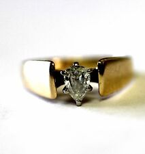 14k yellow gold .30ct SI2 H pear diamond engagement ring 3.8g vintage estate