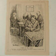 "7x10 ""punch Cartoon 1935 cartes sur table Hitler / tri-lateral contrat"