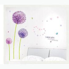 New DIY Purple Dandelion Flowers Butterfly Wall Stickers Vinyl Decal