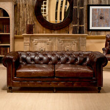 89'' Castered Chesterfield Top Grain Vintage Cigar Leather Sofa