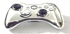 CUSTOM CHROME SILVER FUL L Shell + parti per XBOX 360 WIRELESS CONTROLLER mod KIT