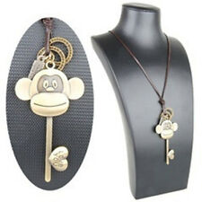 Retro Big Mouth Monkey Love Heart Key Pendant Long Leather Sweater Necklace